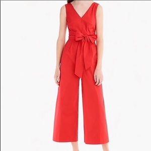 JCrew Wrap Tie Jumpsuit in Red